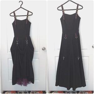 LIP SERVICE Vintage Long Black Goth Gown Size P